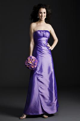 A-line Strapless Pleated Taffeta Mother of the Bride Dress