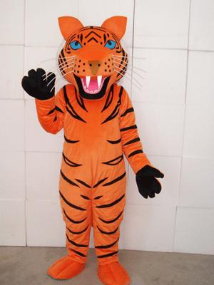 Yellow stripe tiger Plush Adult Mascot Costume