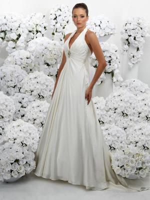 Empire Halter Beaded Taffeta Bridal Dress