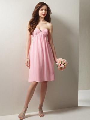 Strapless Sweetheart Pleated Rhinestones Chiffon Women Graduation Dress/Prom Dress/Party Gown