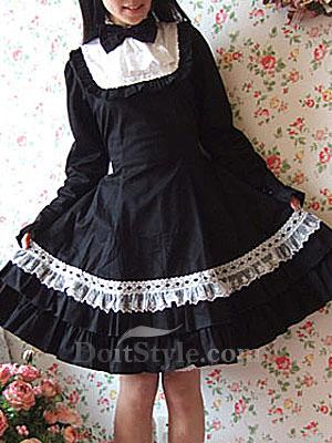 Black Long Sleeves Cotton Cosplay Lolita Dress